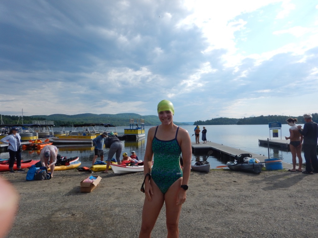 Me standing at the start in my swimsuit
